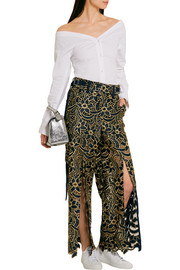Broderie anglaise satin wide-leg pants