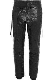 Cropped glossed-leather skinny pants