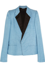 Satin-trimmed linen and silk-blend blazer