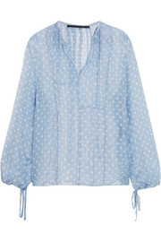 Polka-dot crinkled-chiffon top