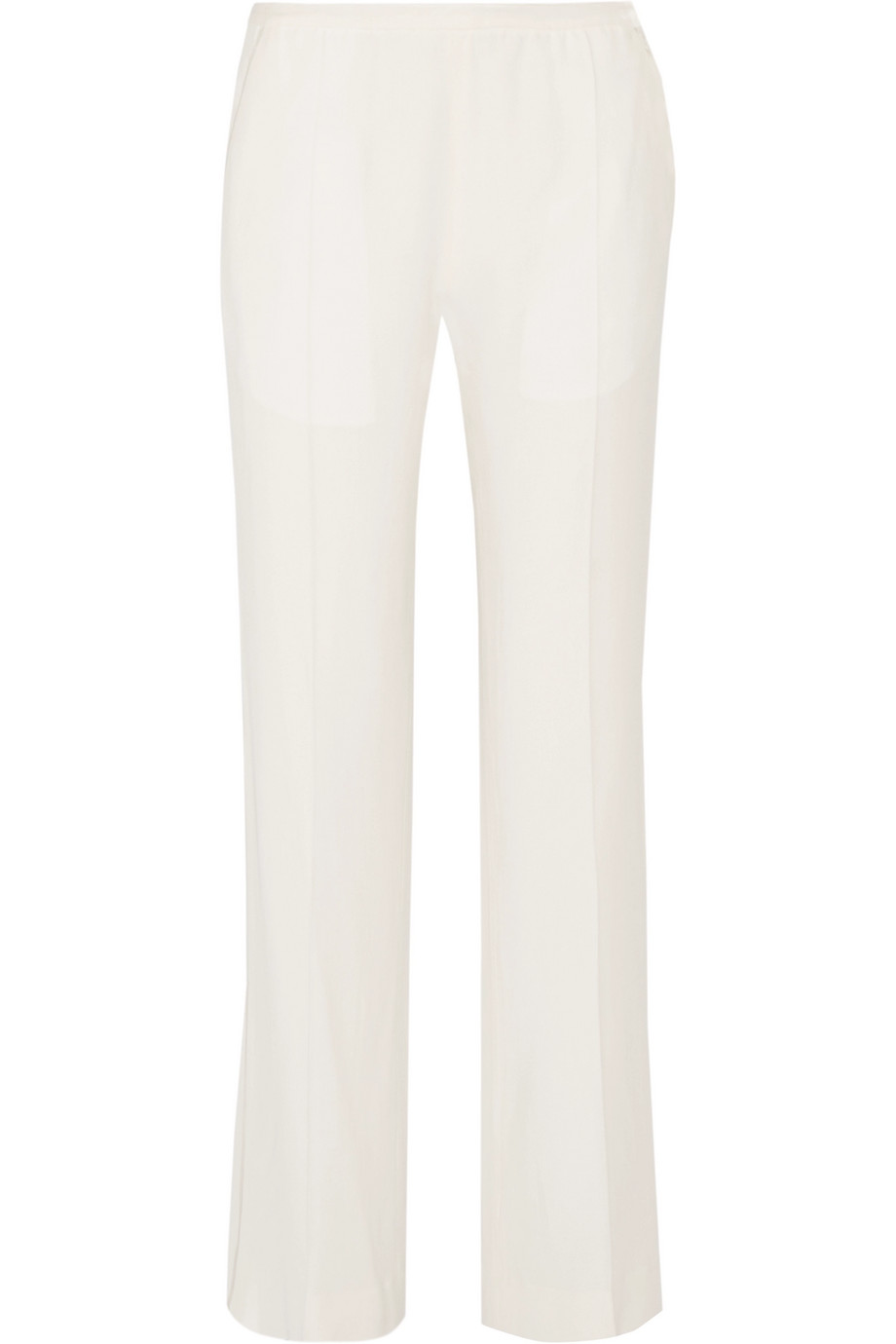Satin-Trimmed Crepe Wide-Leg Pants, Haider Ackermann, Ivory, Women's, Size: 42