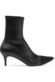 Suede-paneled stretch-leather boots
