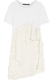 Ruffled cotton-jersey and silk-georgette T-shirt