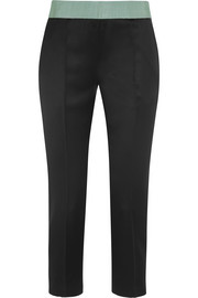 Grosgrain-trimmed satin straight-leg pants