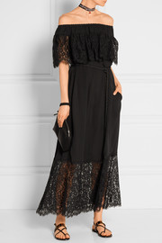 Pila off-the-shoulder lace-trimmed silk-voile maxi dress