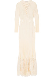 Annie cotton-blend lace and silk crepe de chine maxi dress