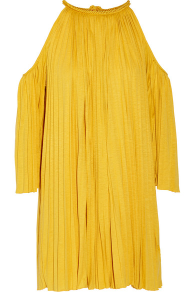 Rachel Zoe - Nancy Cutout Plissé Silk-blend Jersey Mini Dress - Mustard