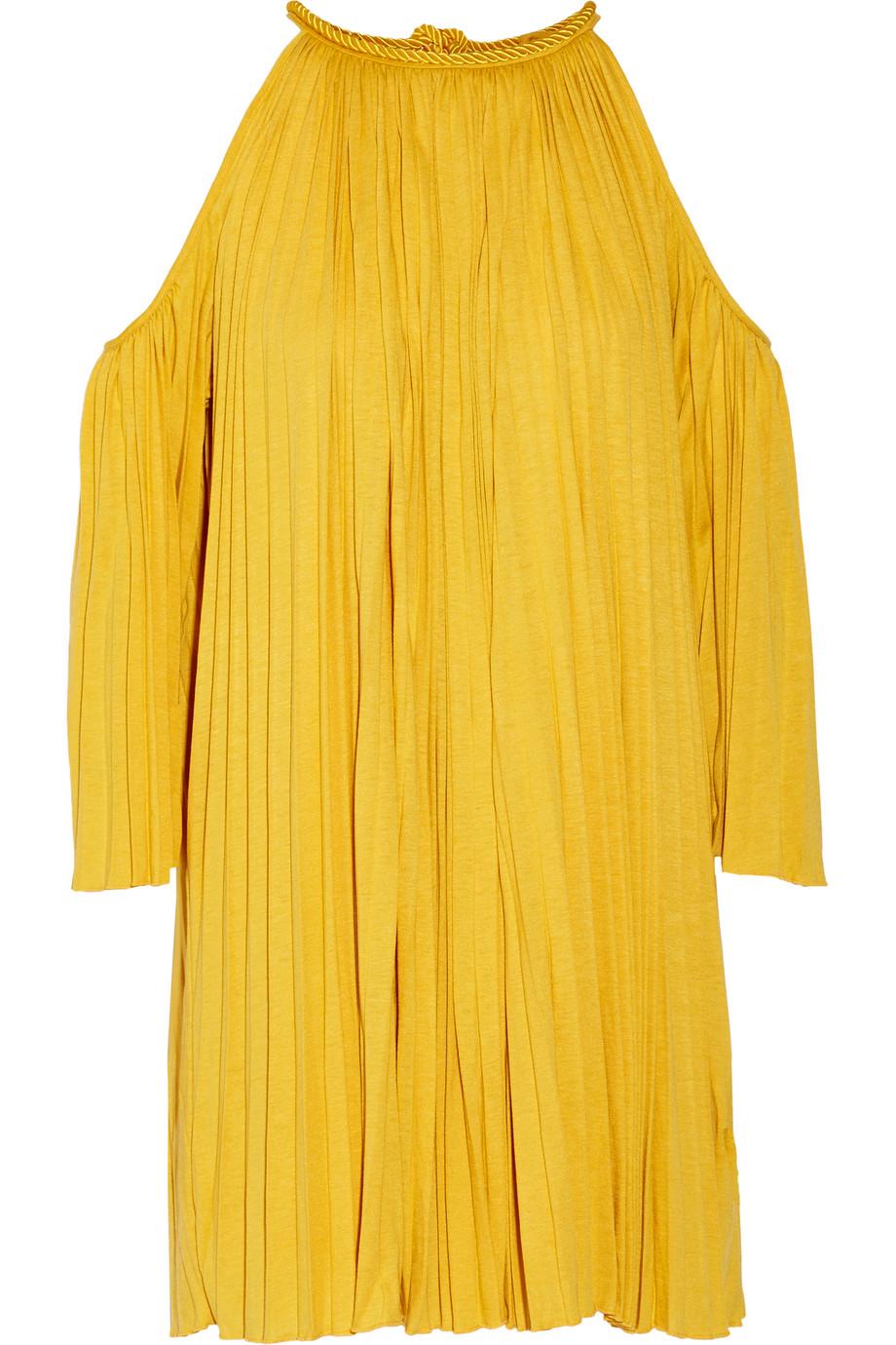 Nancy Cutout Plissé Silk-Blend Jersey Mini Dress, Size: XS