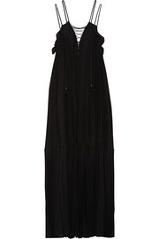 Sybilla lace-up pleated voile dress