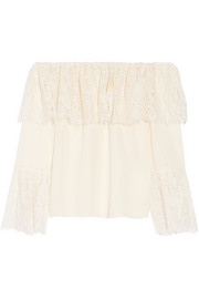 Krystal off-the-shoulder lace-paneled silk blouse