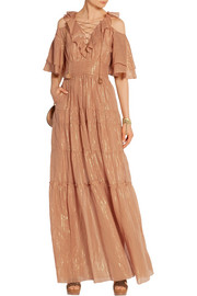 Cecily tiered metallic cotton and silk-blend maxi dress