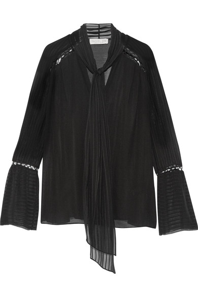 Rachel Zoe - Laurie Pussy-bow Embroidered Silk-chiffon Blouse - Black