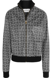 Printed textured-leather bomber jacket