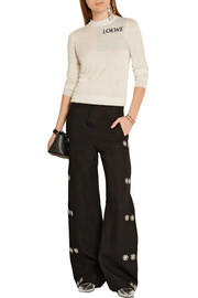 Embellished linen wide-leg pants