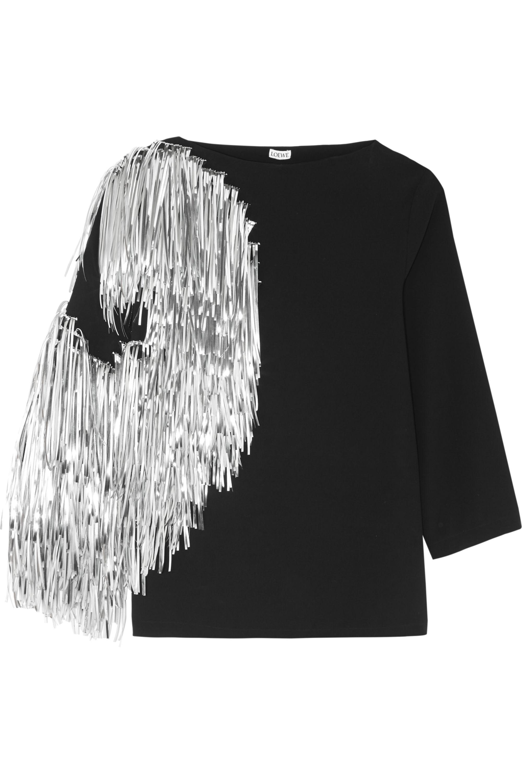 Loewe Metallic fringed jersey top