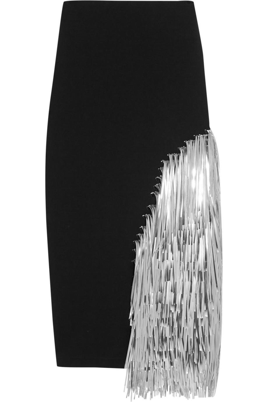 Loewe Metallic Fringed Jersey Skirt, Black/Silver, Women's, Size: 36
