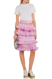 Tiered sequined tulle skirt