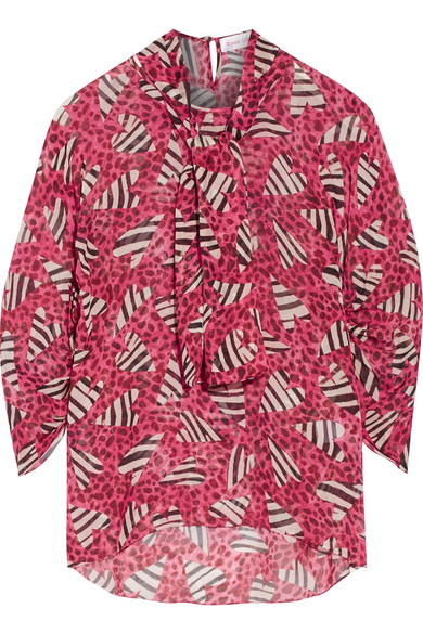 Ryan Lo - Printed Silk Blouse - Pink