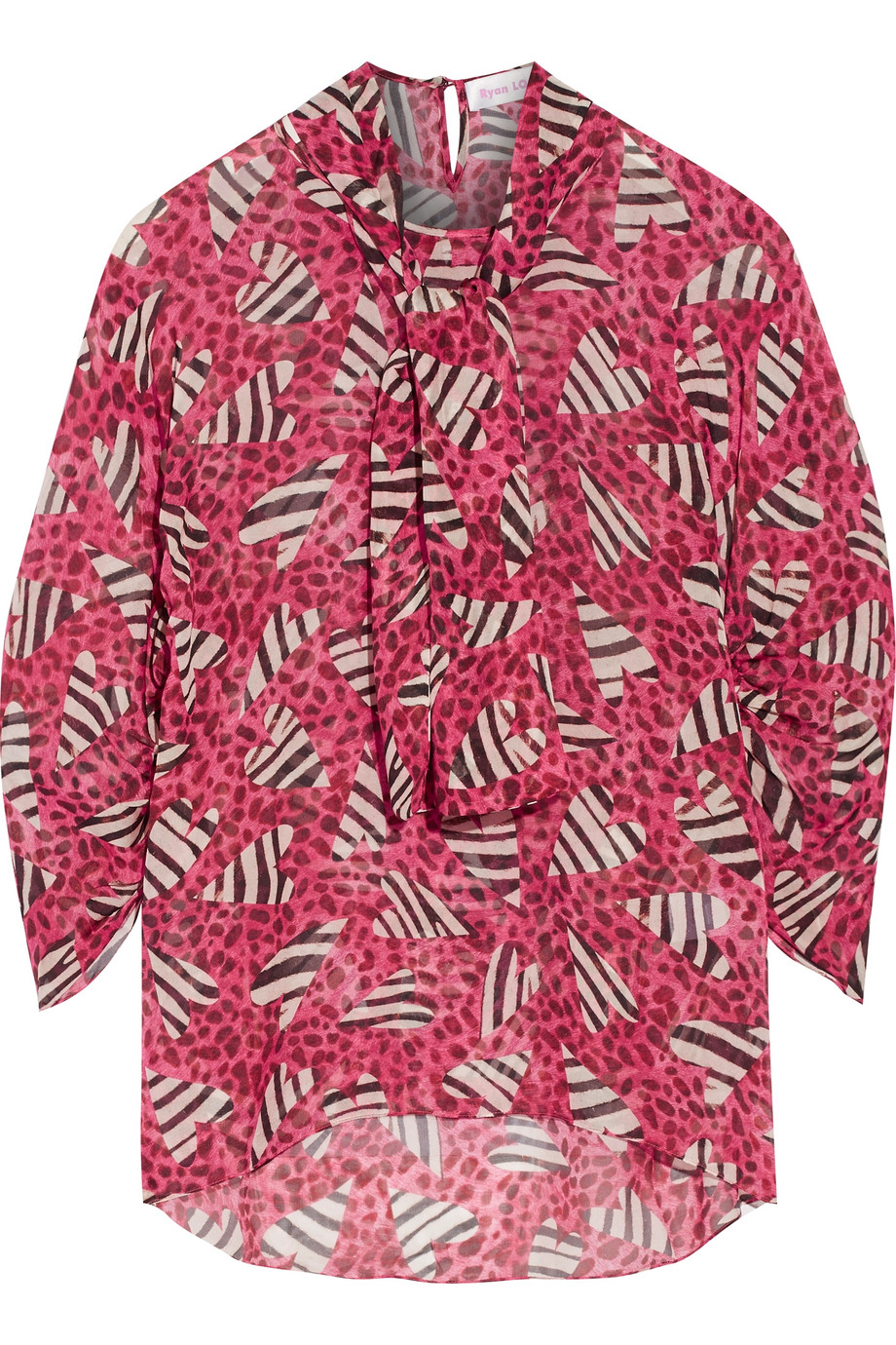 Ryan Lo Printed Silk Blouse, Pink, Women's