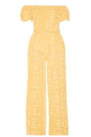 Miguelina Brisa off-the-shoulder crocheted cotton jumpsuit