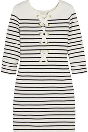 Striped stretch-knit mini dress