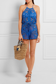Miguelina Harriet crocheted cotton playsuit