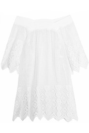 Brenna off-the-shoulder crocheted cotton-lace kaftan