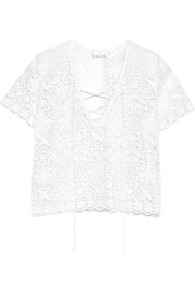 Ariel crocheted cotton-lace top