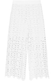 Miguelina Dana cropped crocheted cotton wide-leg pants