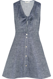 Ruben tie-front linen-blend chambray mini dress