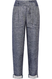 Belted linen-blend chambray tapered pants