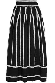 Jamais embroidered stretch jacquard-knit skirt