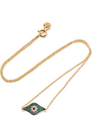 Kitten Eye gold-plated crystal necklace