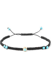 Simple Chic cotton, turquoise and gold-plated bracelet
