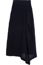 Ribbed cotton-blend skirt