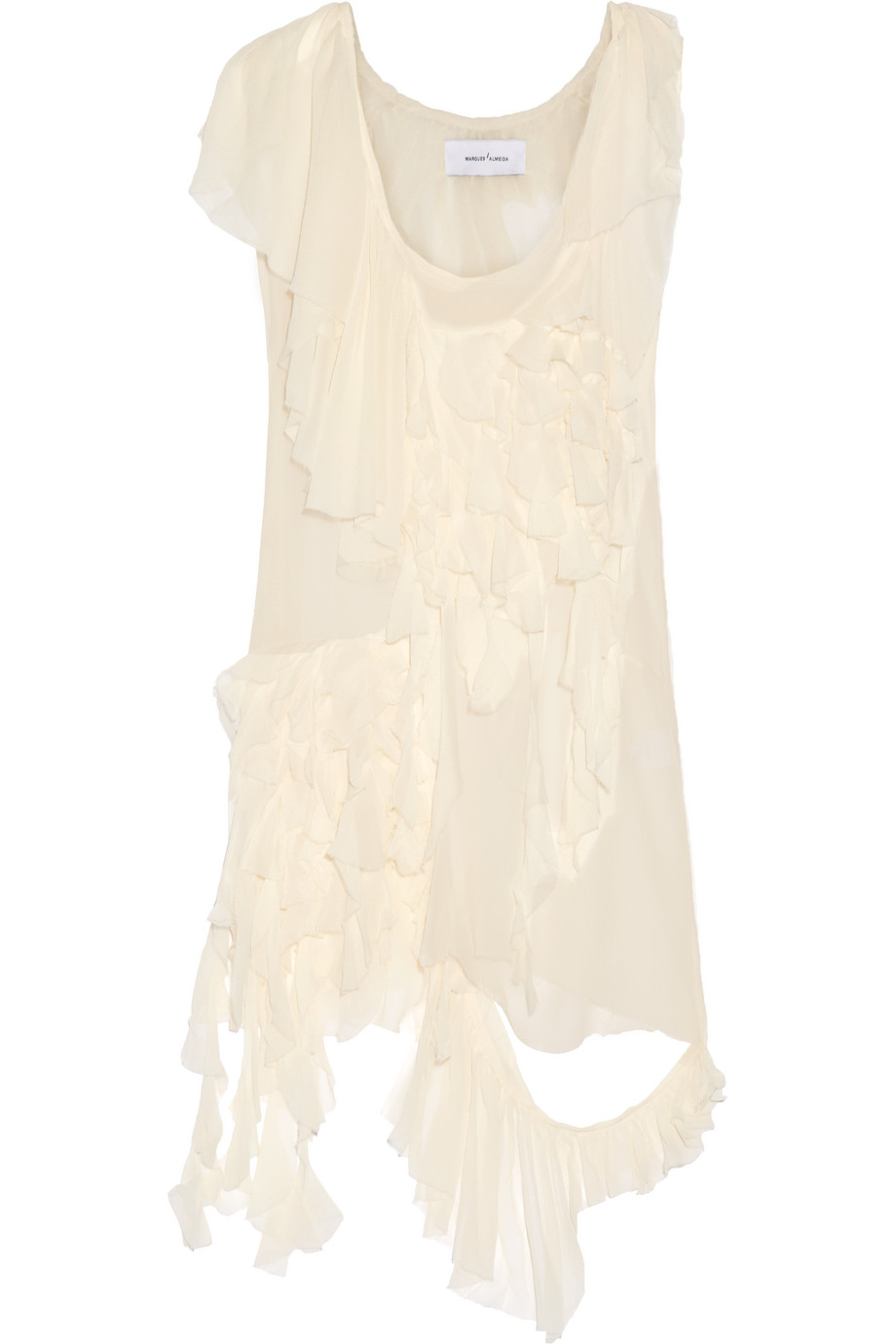 Ruffled Silk-Chiffon Dress, Marques' Almeida, Cream, Women's, Size: L