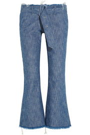 Belted frayed mid-rise bootcut jeans