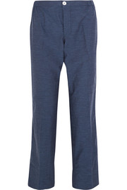 Zeus cotton-chambray straight-leg pants