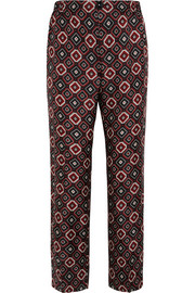 Zeus printed silk-twill straight-leg pants