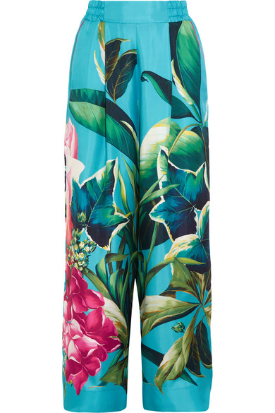 F.R.S For Restless Sleepers - Printed Silk-twill Wide-leg Pants - Turquoise