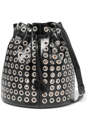 Alaïa Eyelet-embellished leather bucket bag