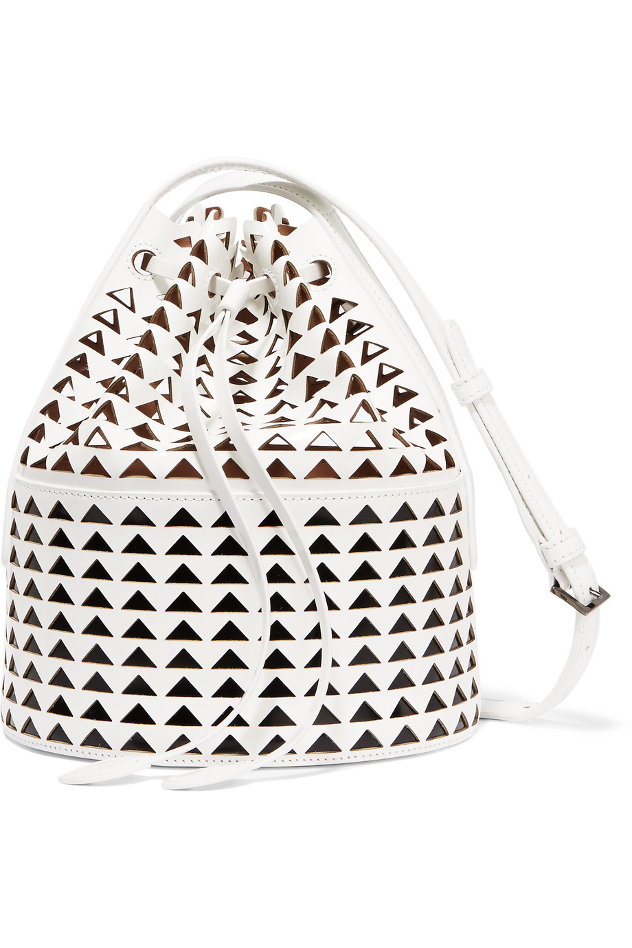 Alaïa Laser-Cut Glossed-Leather Bucket Bag, White, Women's