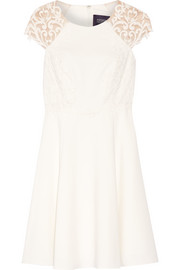 Tulle-paneled stretch-cady dress