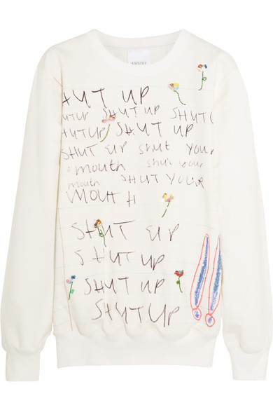 Ashish - Embellished Printed Cotton-jersey Sweatshirt - White