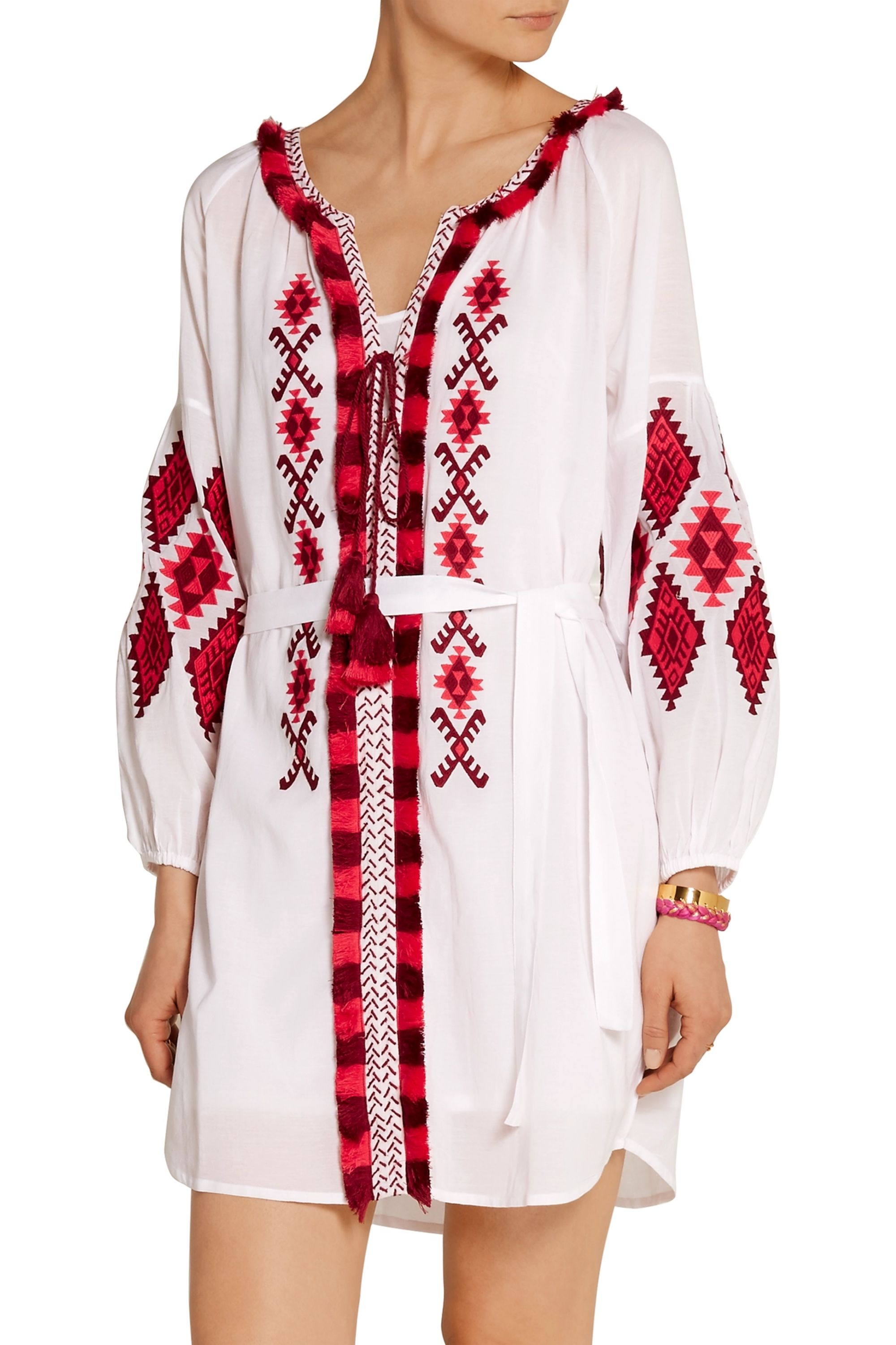 Figue Tula embroidered cotton-blend voile mini dress