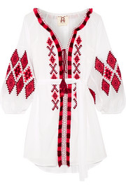 Tula embroidered cotton-blend voile mini dress
