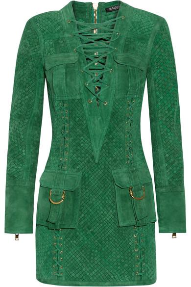 Balmain - Lace-up Woven Suede Mini Dress - Dark green
