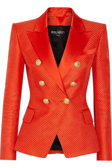 Balmain - Duchesse Satin-trimmed Woven Cotton And Silk-blend Blazer - Tomato red