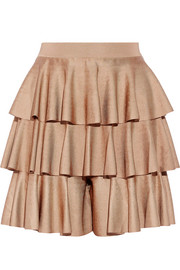 Tiered ruffled satin-bandage shorts