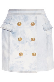 Wrap-effect acid-wash stretch-denim mini skirt